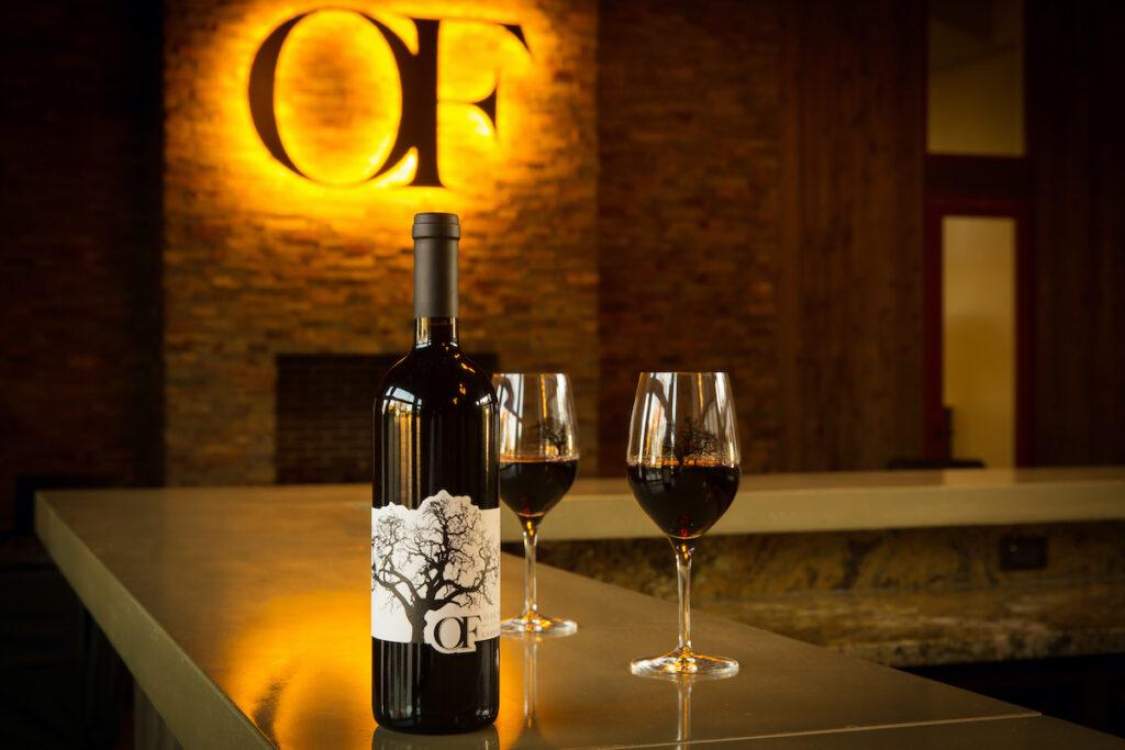 Inside a wine tasting room.