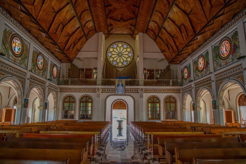 Inside a wooden church in Samoa.