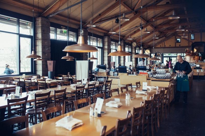 Inside Altes Tramdepot Brewery and Restaurant.