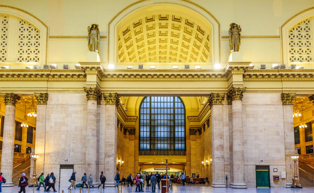 Inside Chicago's Union Station.