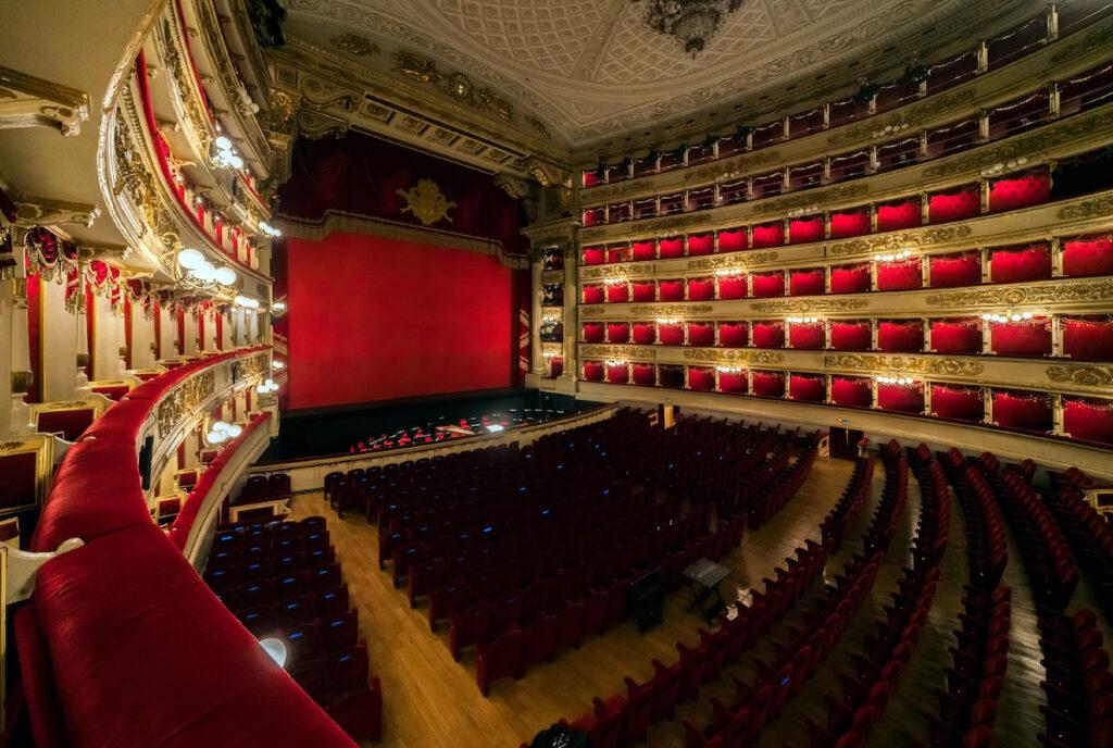 Inside La Scala, an opera house in Milan, Italy.