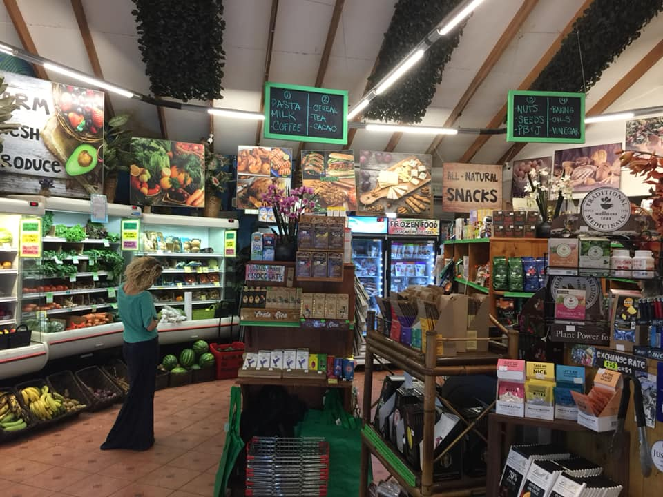 Inside Mama Toucan's organic food store in Dominical.