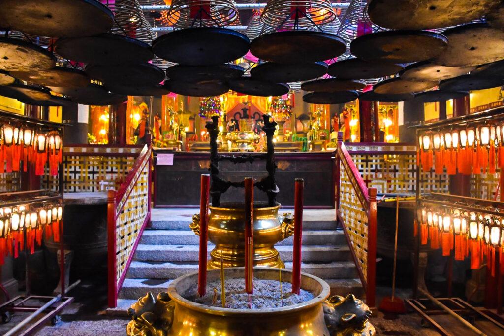 Inside Man Mo Temple in Hong Kong.