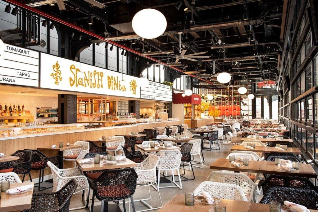 Inside Mercado Little Spain in New York City.