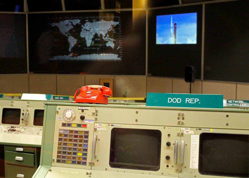 Inside Mission Control at the Houston Space Center.