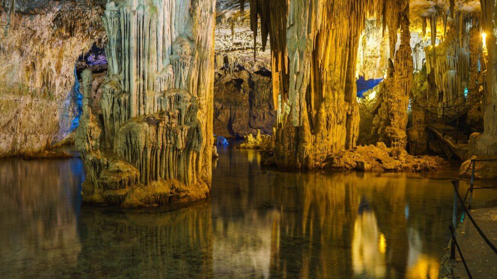 Inside Neptune's Grotto in Sardinia.