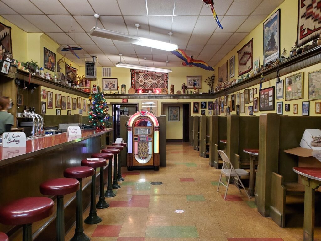 Inside of The Parrot Confectionery.