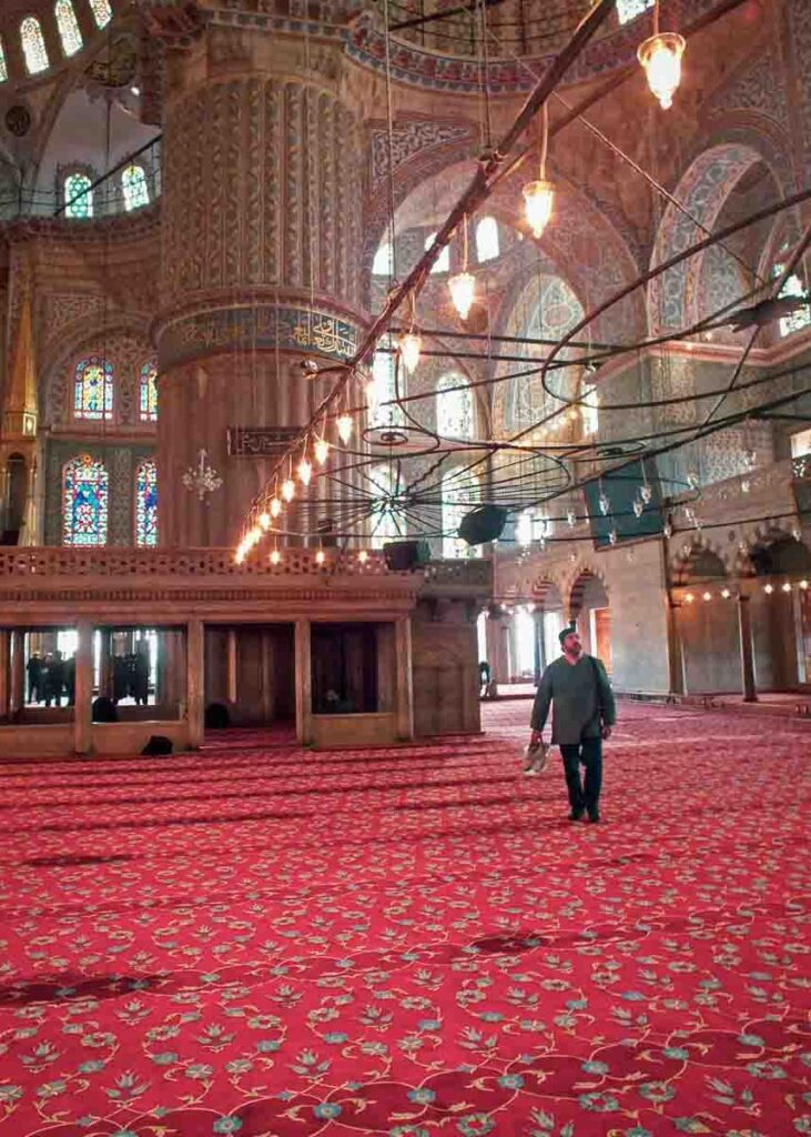 Inside one of the many mosques in the Middle East.