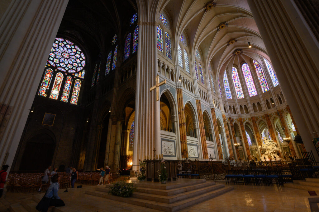Inside Our Lady Of Chartres cathedral in France.