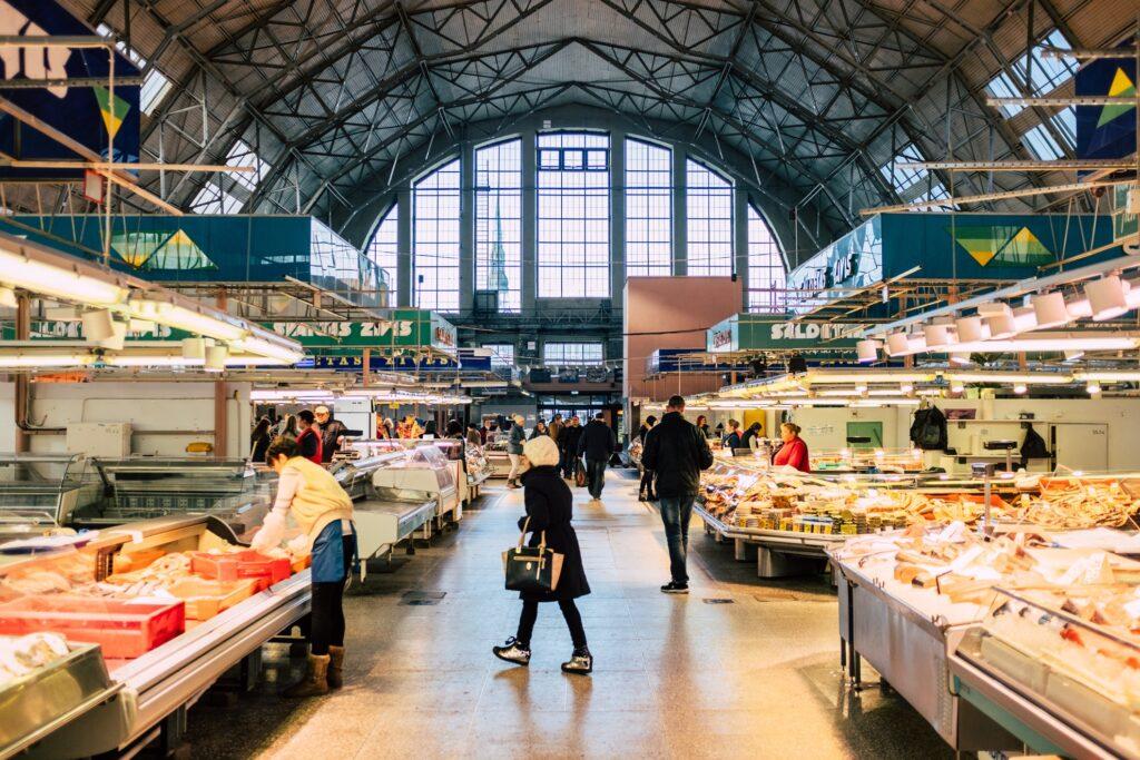 Inside Riga's Central Market.