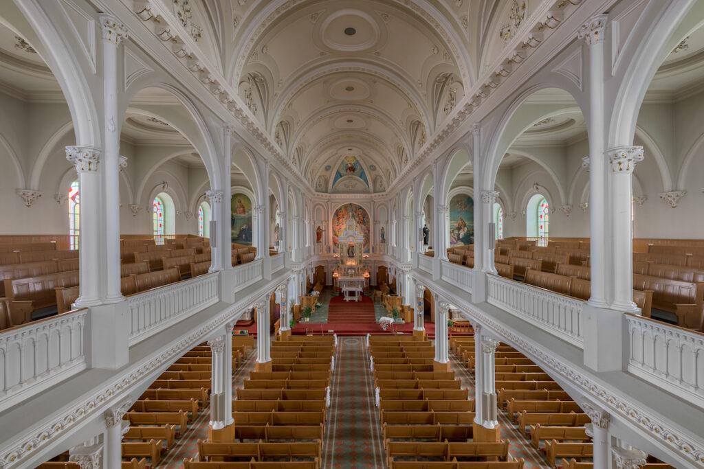 Inside Saint Peter's Church in Cheticamp, Nova Scotia.
