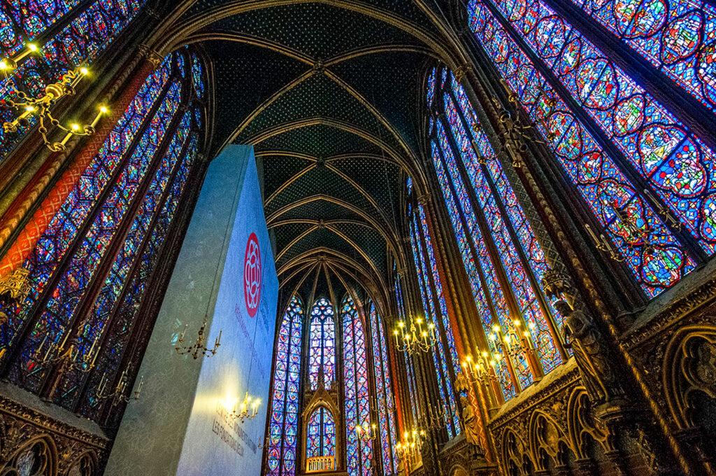 Inside Sante-Chapelle in Paris.