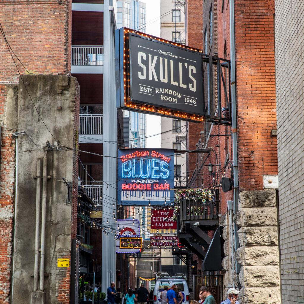 Inside Skull's Rainbow Room in Nashville.