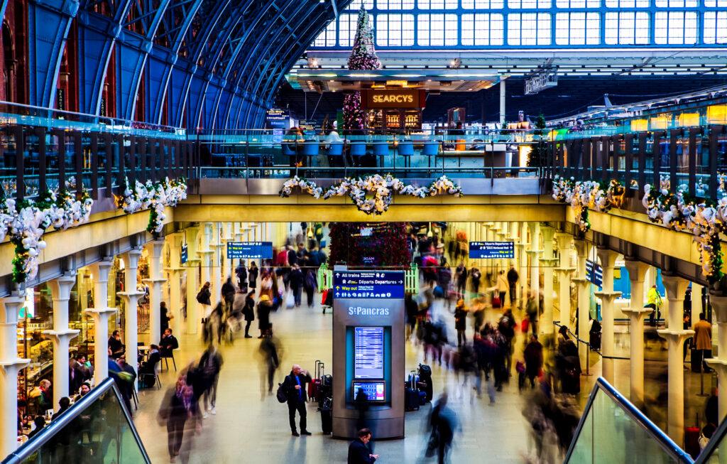 Inside St. Pancras Station in London.