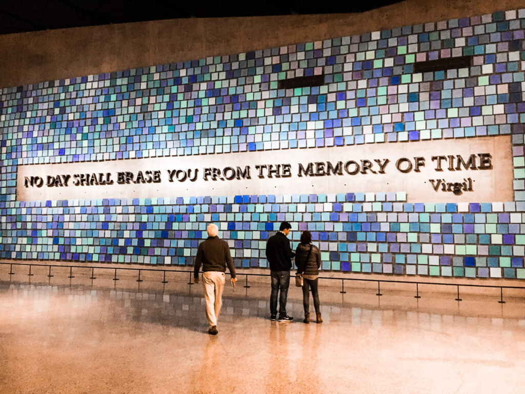 Inside the 9/11 Memorial in New York City.