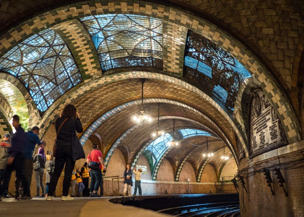 Inside the abandoned New York City Hall Subway station.