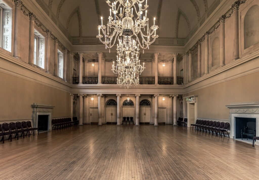 Inside the Assembly Rooms in Bath.