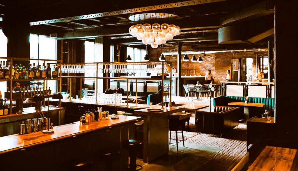 Inside the bar at Crossroads Hotel in Kansas City.