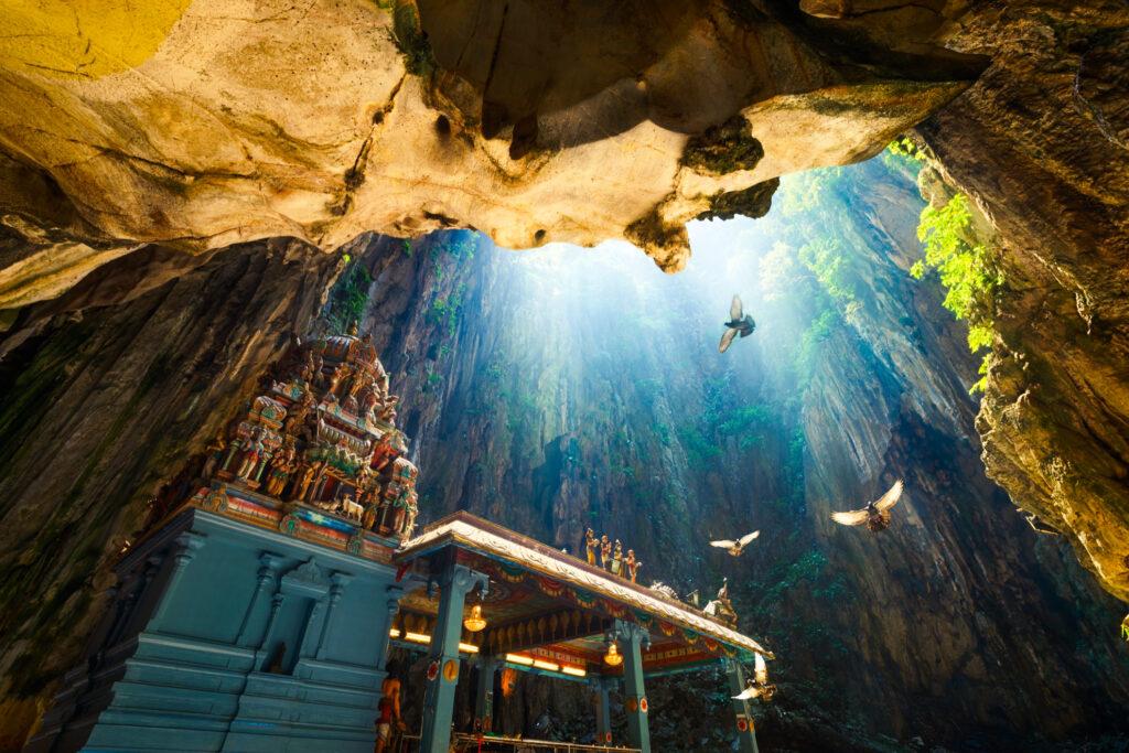 Inside the Batu Caves of Malaysia.