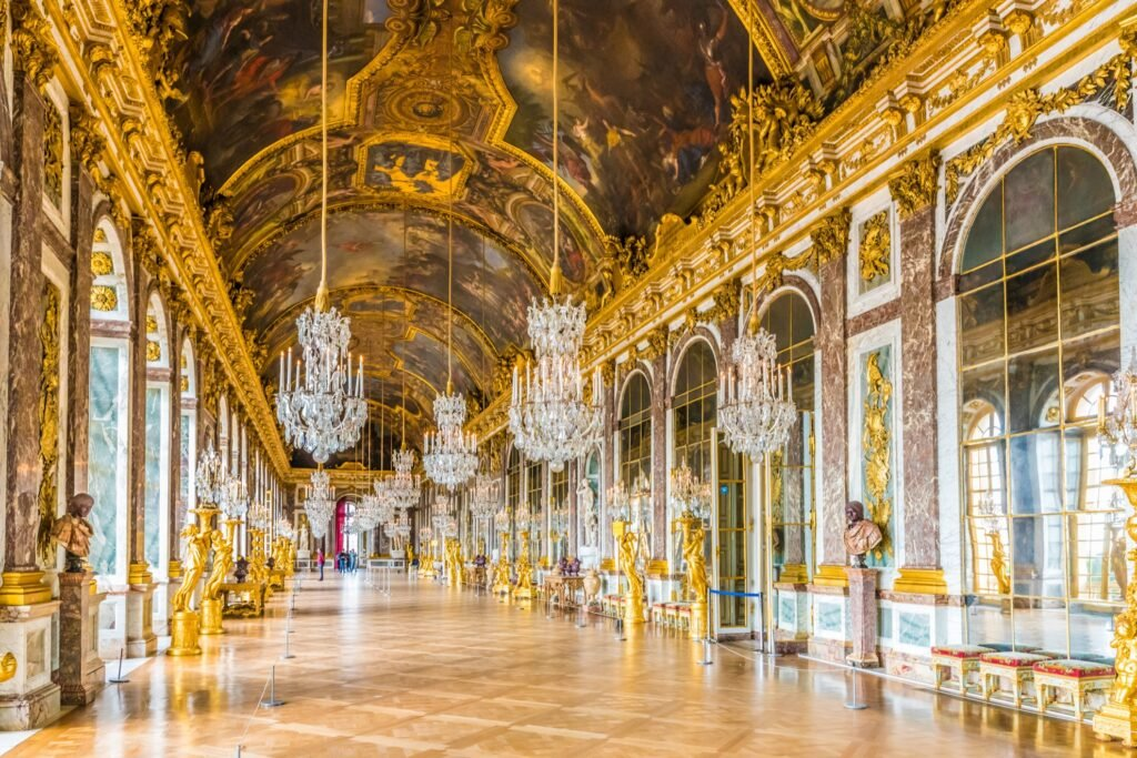 Inside the beautiful palace of Versailles.