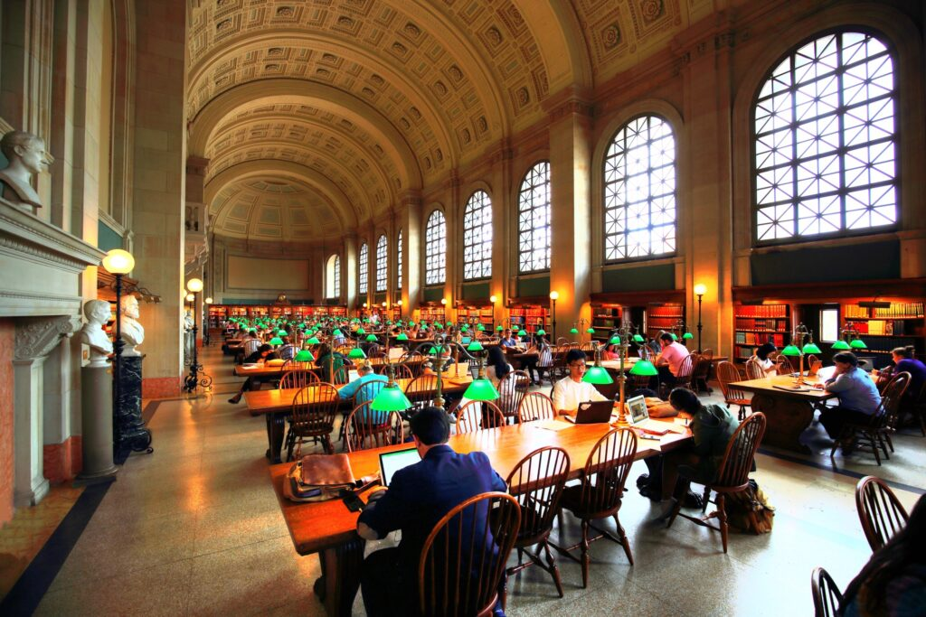 Inside the Boston Public Library.