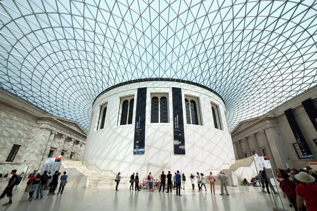 Inside the British Museum in London.