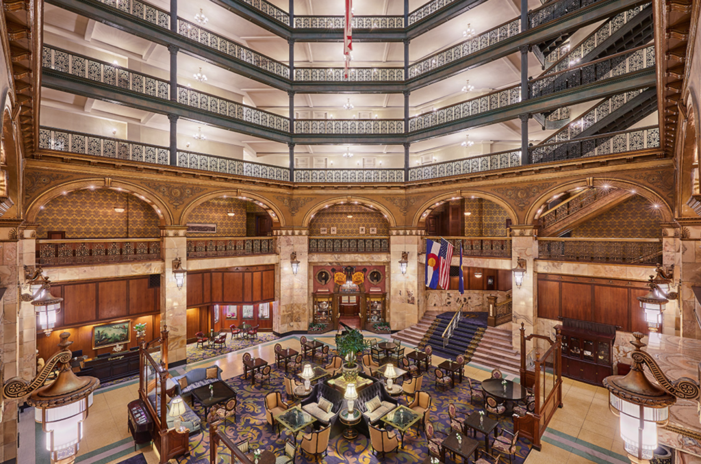 Inside the Brown Palace Hotel in Denver.