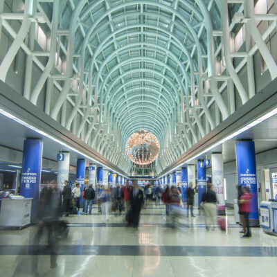 Inside the busy Chicago-O'Hare airport in Illinois.