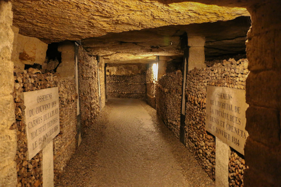 Inside the Catacombs of Paris.