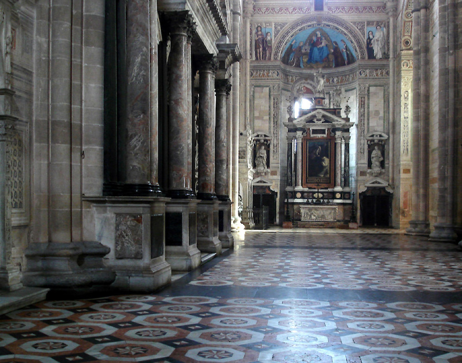 Inside the Certosa di Pavia in Italy.