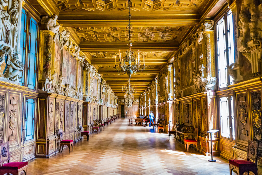 Inside the Chateau de Fontainebleau in France.
