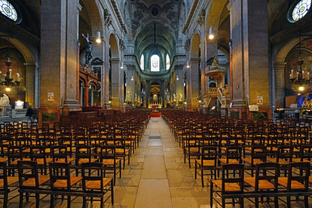 Inside the Church of Saint Sulspice.