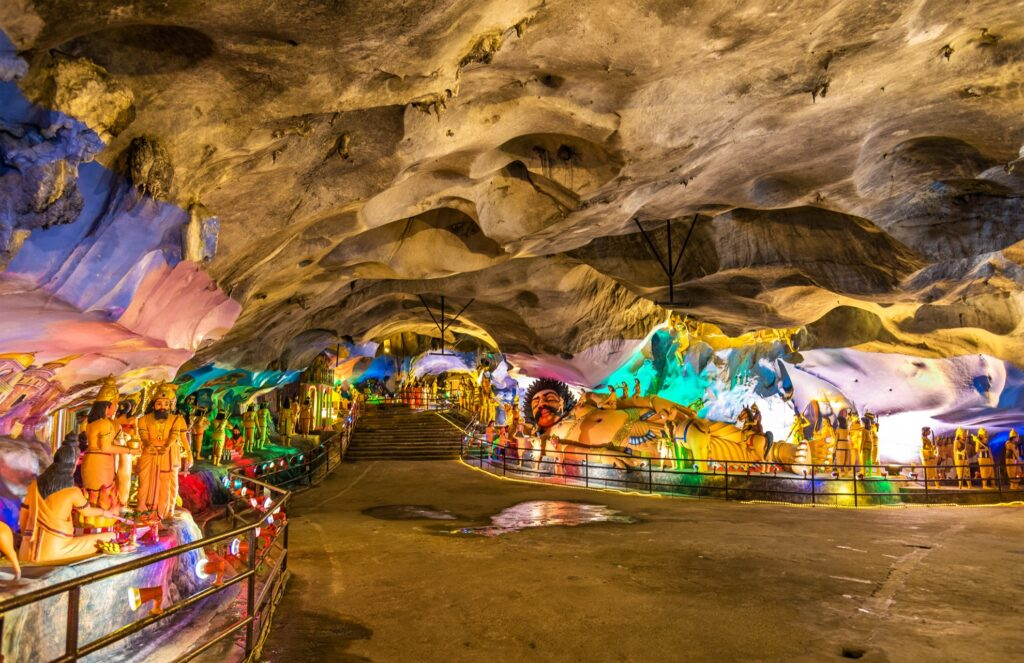 Inside the colorful Batu Caves.