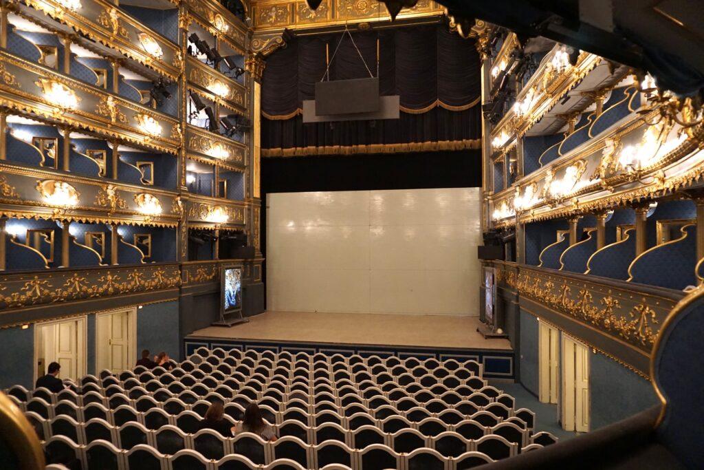 Inside the Estates Theatre in Prague.