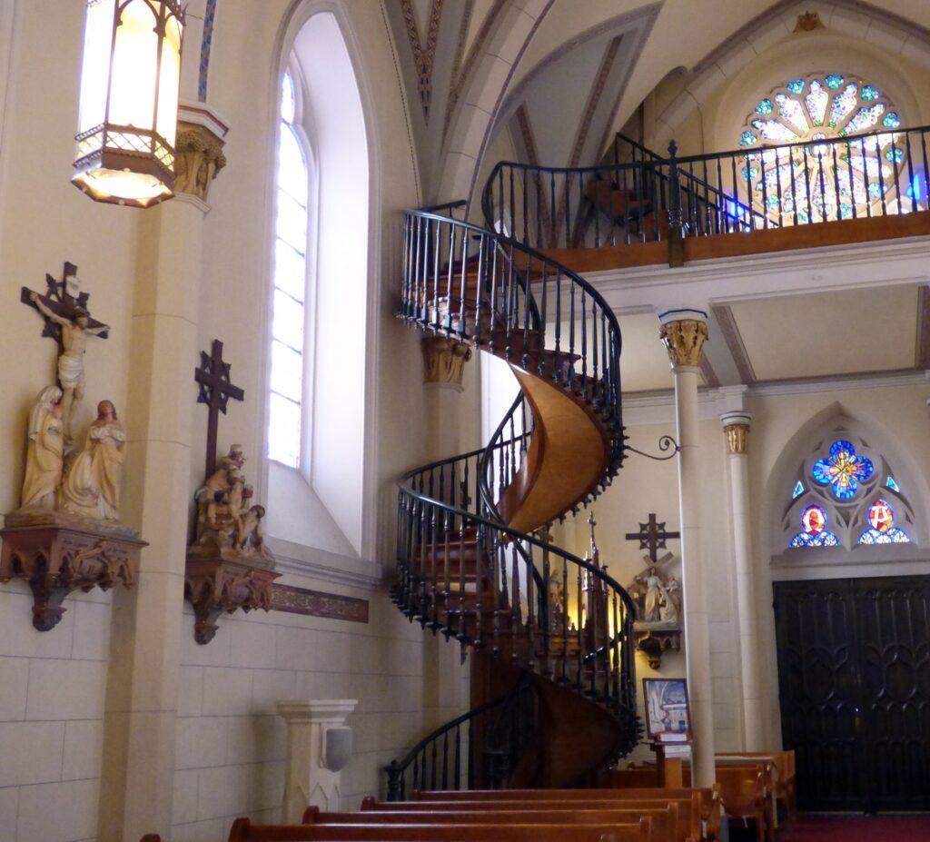 Inside the historic Loretto Chapel in Santa Fe.