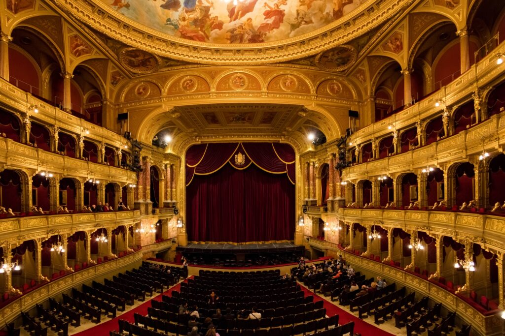Inside the Hungarian State Opera hall in Budapest.