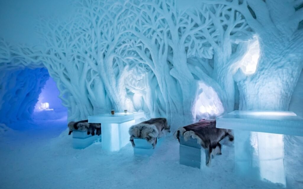 Inside the ice restaurant at Tromso Ice Domes.