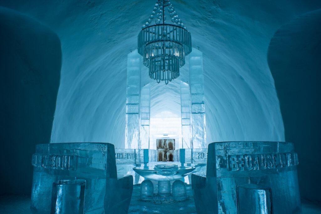 Inside the Icehotel in Sweden.