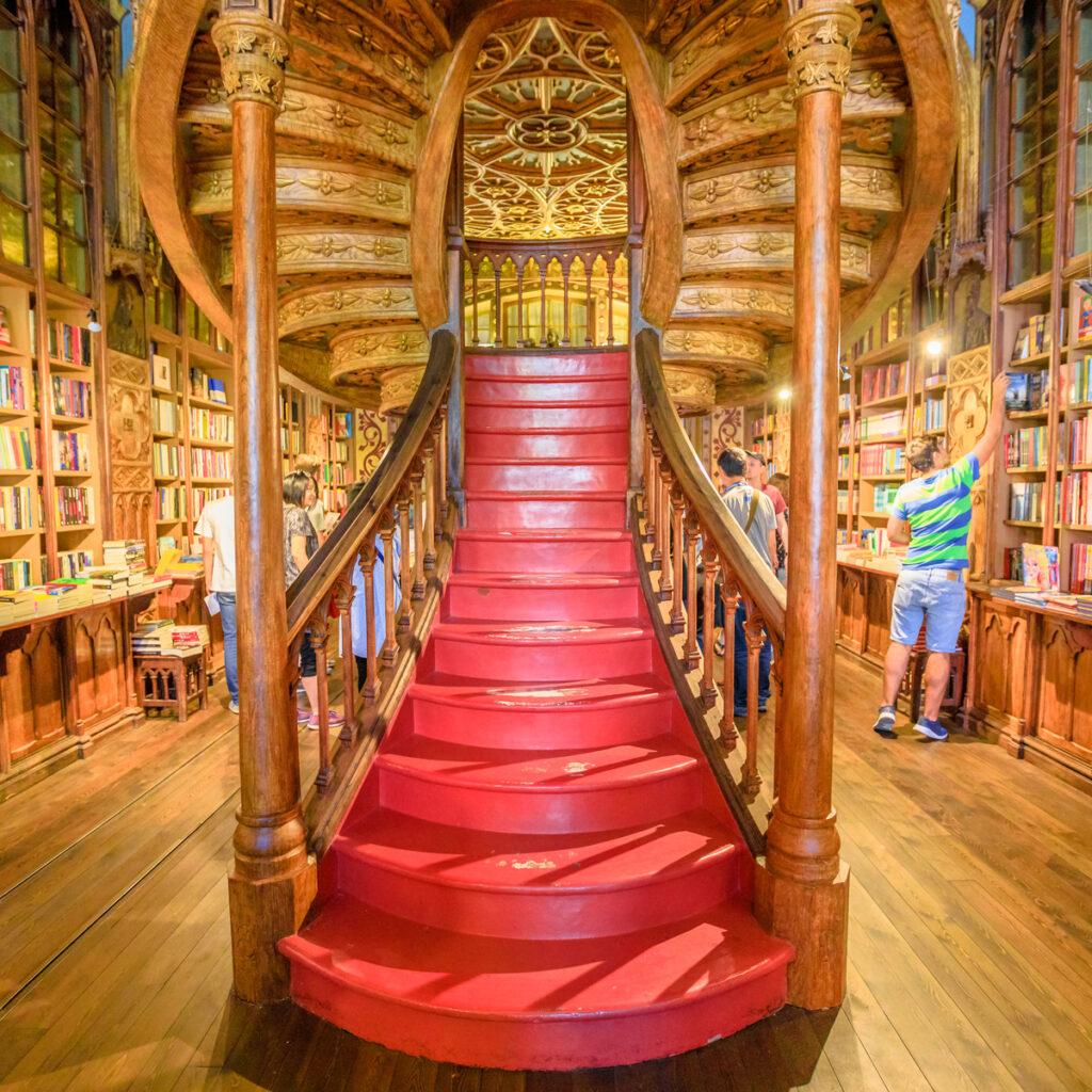 Inside the Livraria Lello in Portugal.