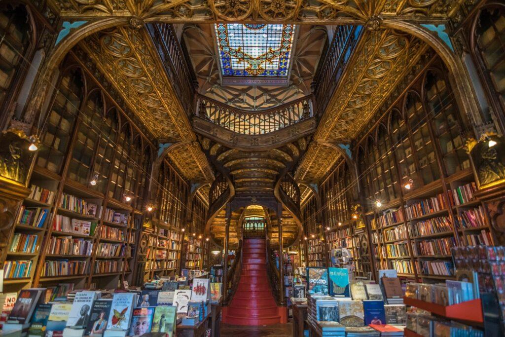 Inside the Livraria Lello in Porto, Portugal.