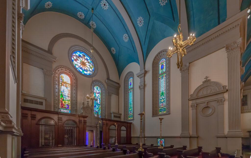 Inside the Memorial Presbyterian Church.