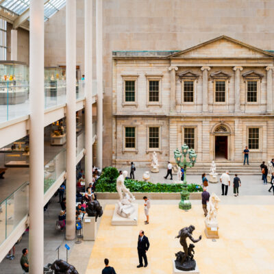Inside the Metropolitan Museum of Art in New York City.