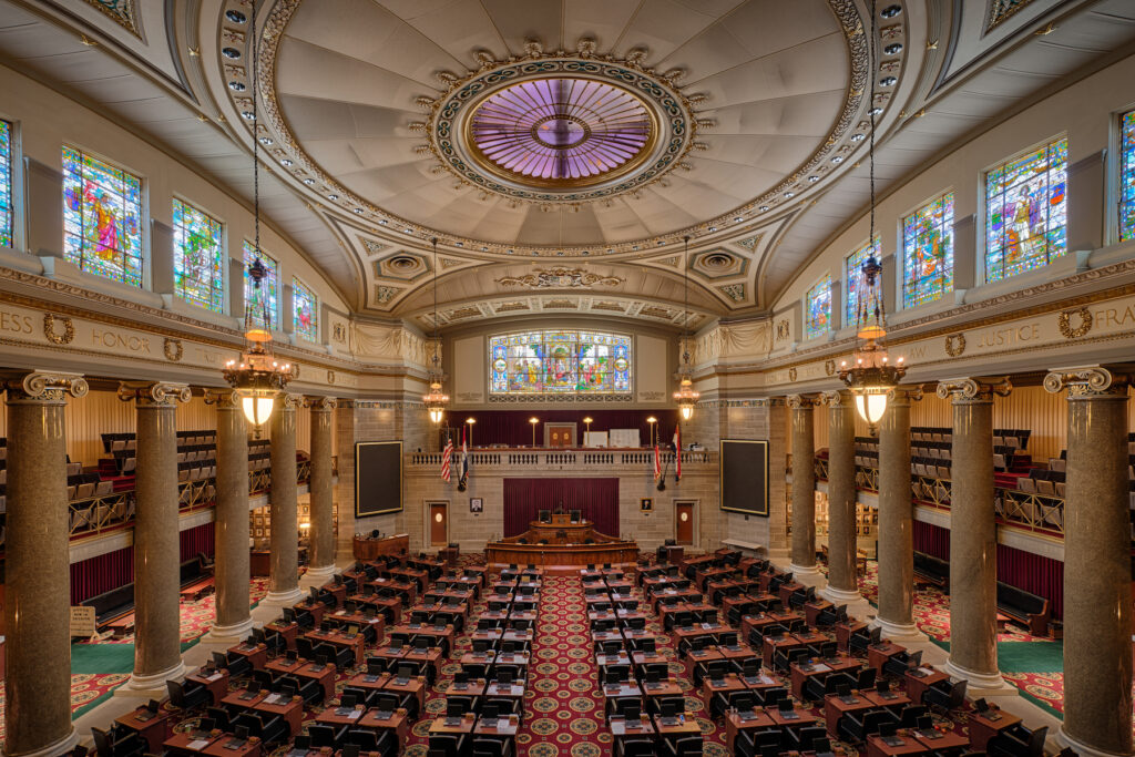 Inside the Missouri State Capitol building.