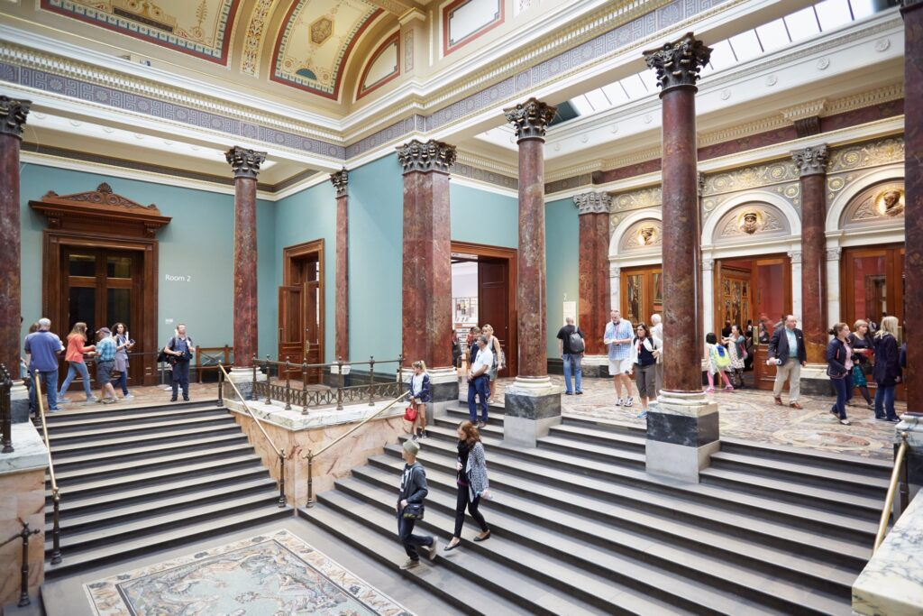 Inside the National Gallery in London.