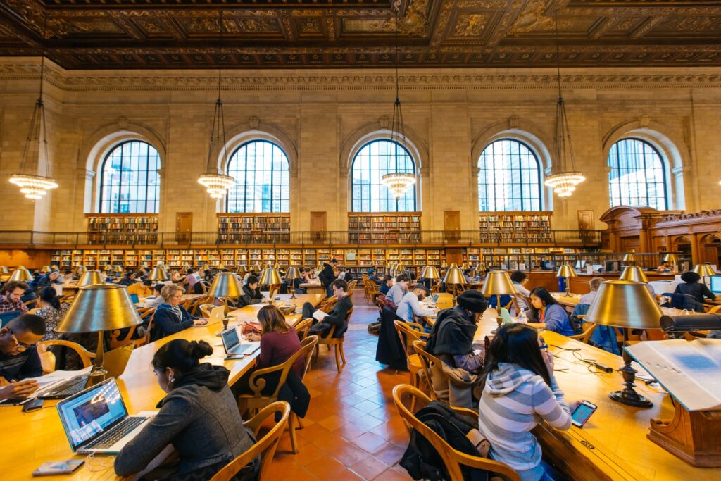 Inside the New York Public Library.