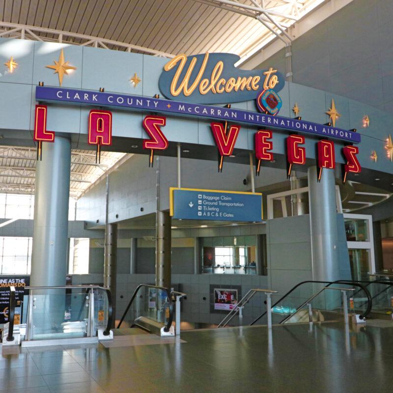 Inside the newly renamed Harry Reid International Airport in Las Vegas.