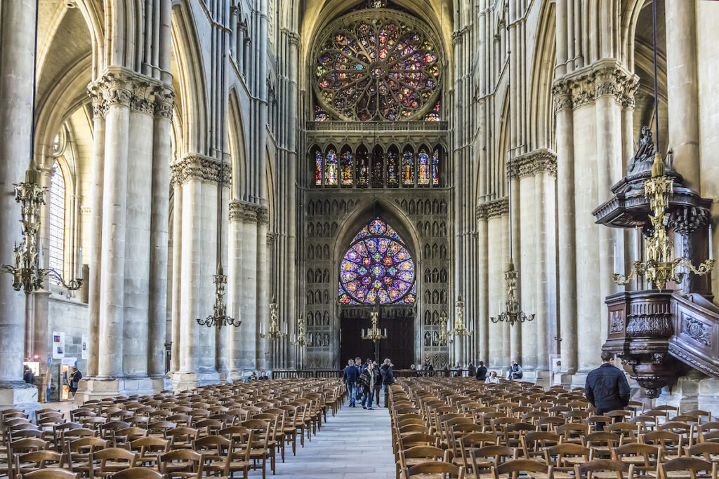 Inside the Notre Dame Cathedral of Reims.