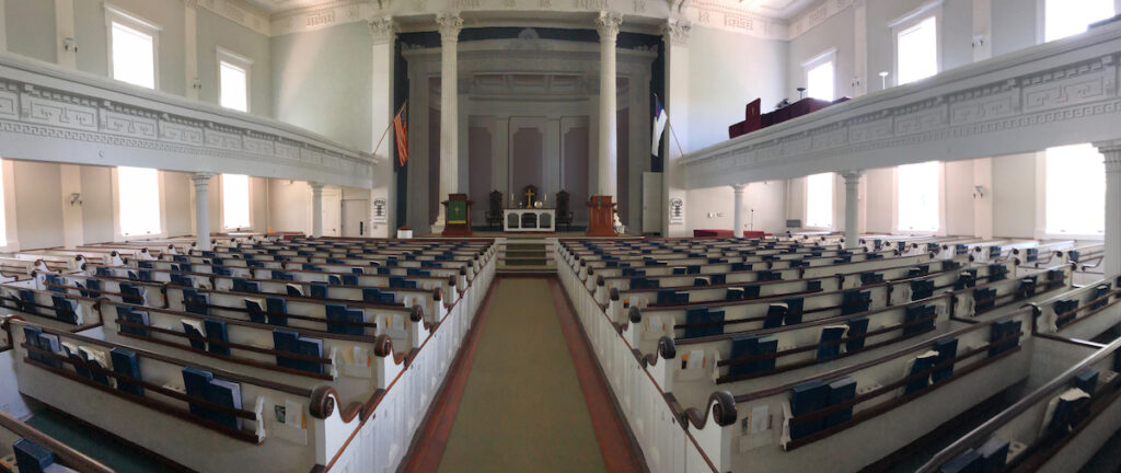 Inside the Old Whalers Church in Sag Harbor, New York.