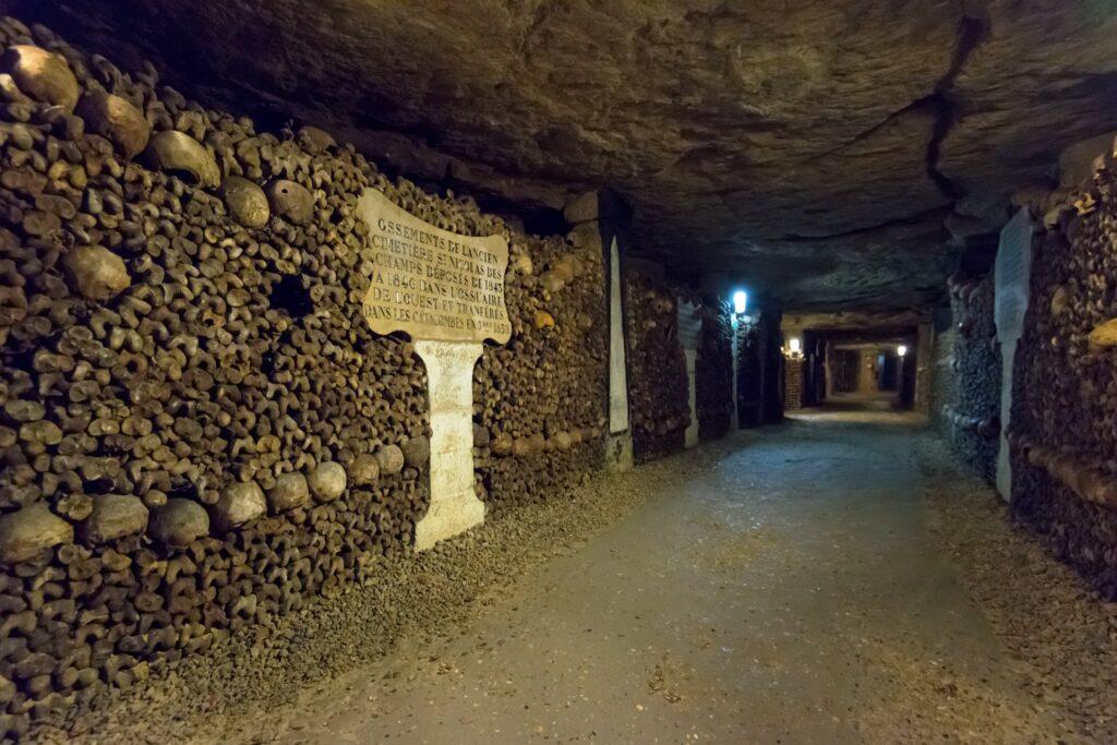 Inside the Paris Catacombs.