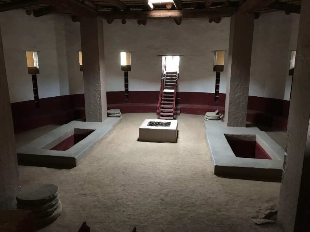 Inside the reconstructed kiva, Aztec Ruins National Monument.